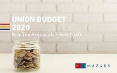 UNION BUDGET 2020 I KEY TAX PROPOSALS BY MAZARS